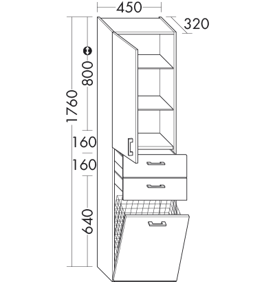 Hochschrank Hs4549 Badmobel Serie Sys30 Echo Burgbad